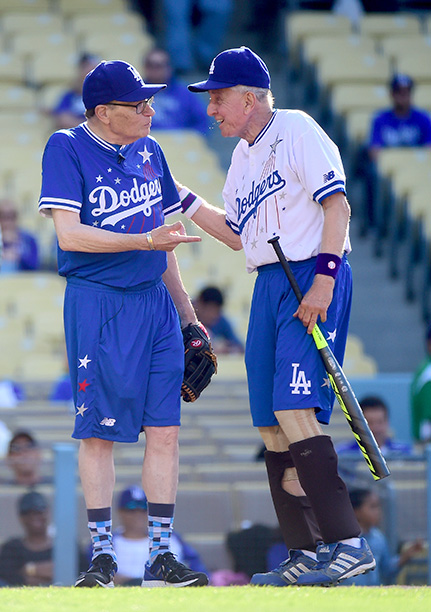 Garry Marshall With Larry King at a Celebrity Baseball Game on June 6, 2015