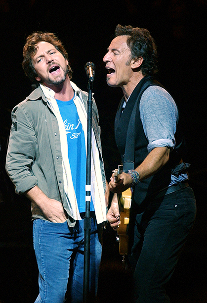 "Bruce Springsteen With Eddie Vedder at the ""Vote For Change"" Closing Night Concert on October 13, 2004"