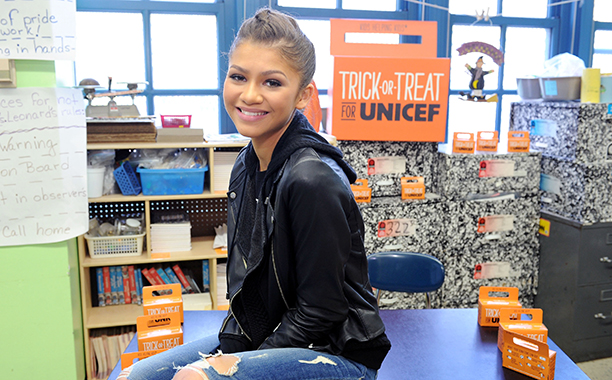Zendaya at P.S. 163 Alfred E. Smith Elementary in New York City on October 28, 2014
