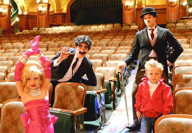 Harper as Marilyn Monroe, David Burtka as Groucho Marx, Neil Patrick Harris as Charlie Chaplin, and Gideon as James Dean
