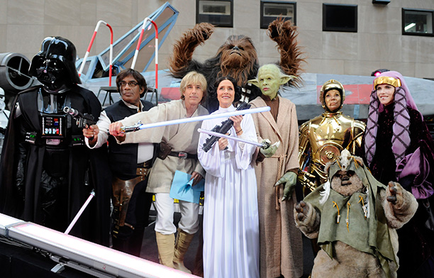 Ann Curry as Darth Vader, Al Roker as Han Solo, Matt Lauer as Luke Skywalker, Meredith Vieira as Princess Leia, Hoda Kotb as Yoda, Kathie Lee Gifford as C-3PO, and Natalie Morales as Queen Padme Amidala