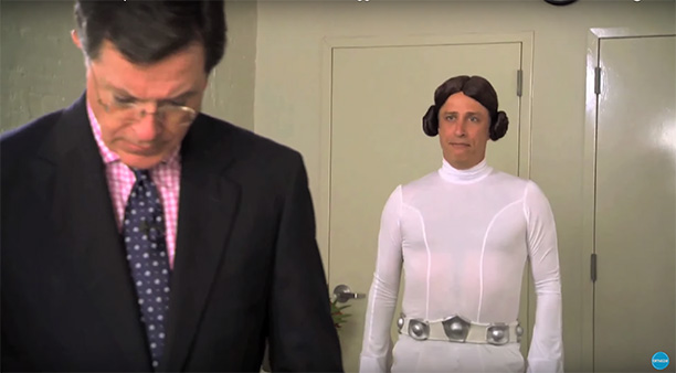 Jon Stewart as Princess Leia