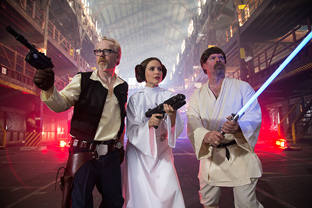 MythBusters' Adam Savage as Han Solo, Sophia Bush as Princess Leia, and MythBusters' Jamie Hyneman as Luke Skywalker
