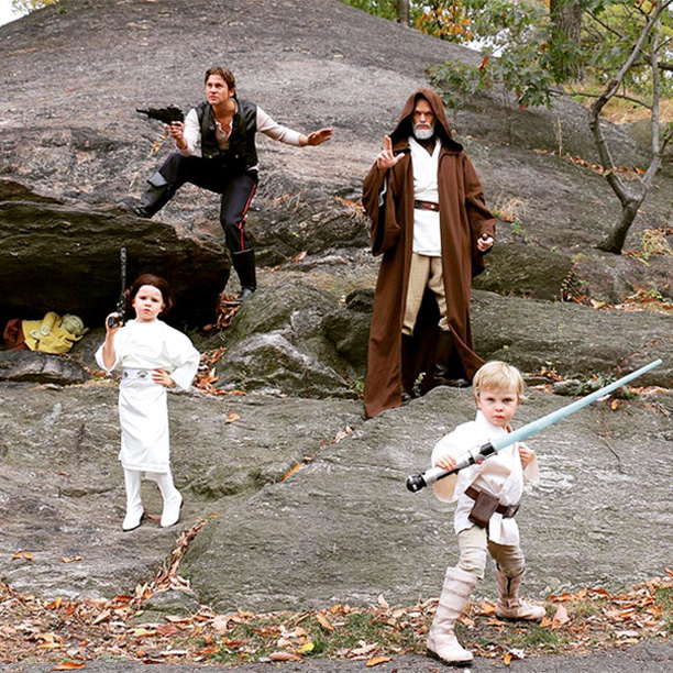 David Burtka as Han Solo and Neil Patrick Harris as Obi-Wan Kenobi, with their daughter Harper as Princess Leia and son Gideon as Luke Skywalker