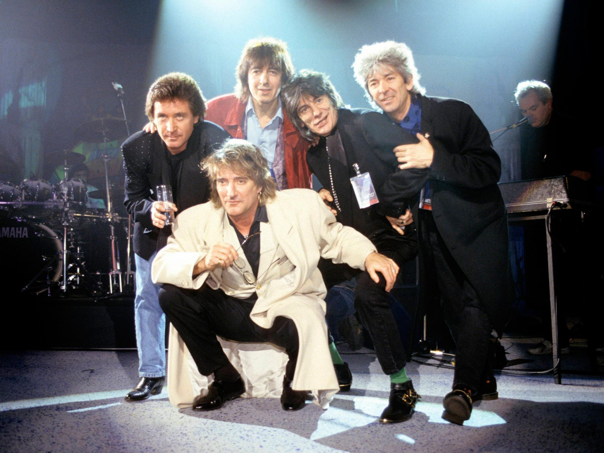 Photo of Bill WYMAN and Ronnie WOOD and Ron WOOD and Rod STEWART and Kenney JONES and Ian McLAGAN and FACES