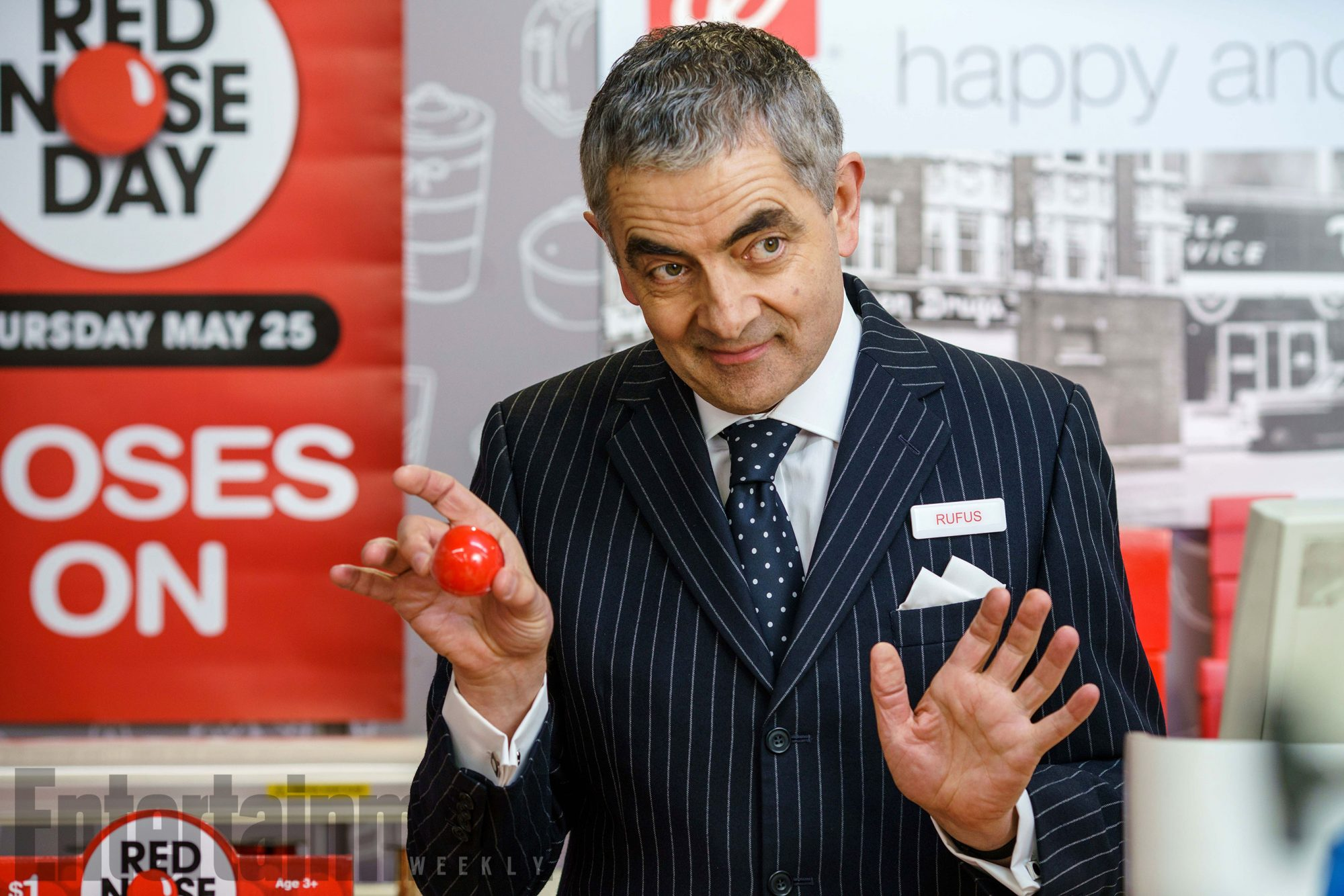 Rowan Atkinson as Rufus for Red Nose Day Actually filmed in store