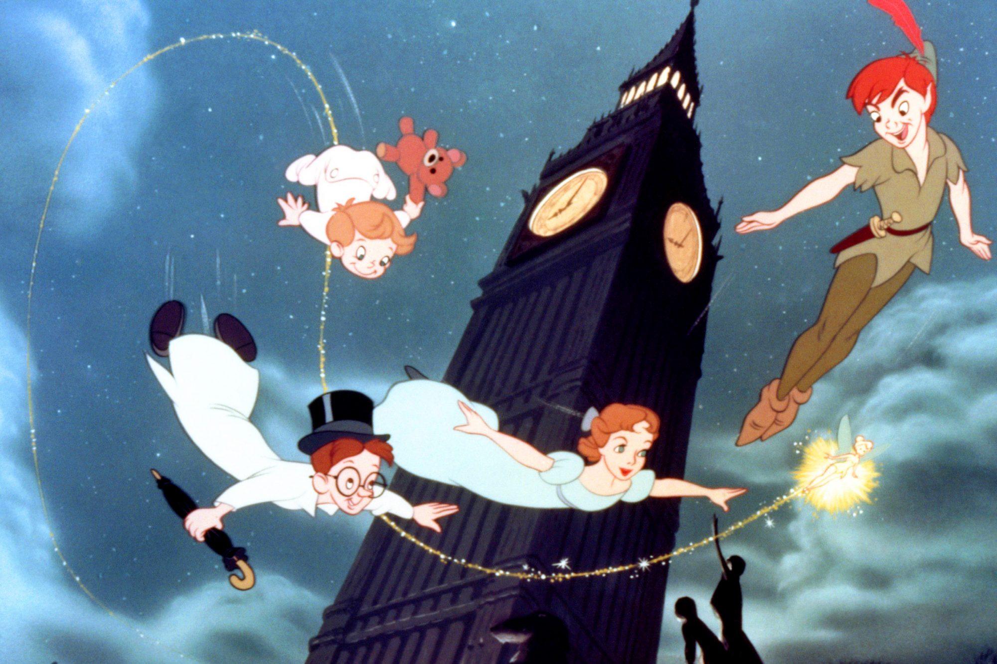 PETER PAN, from top left: Michael Darling, John Darling, Wendy Darling, Tinkerbell, Peter Pan, 1953,