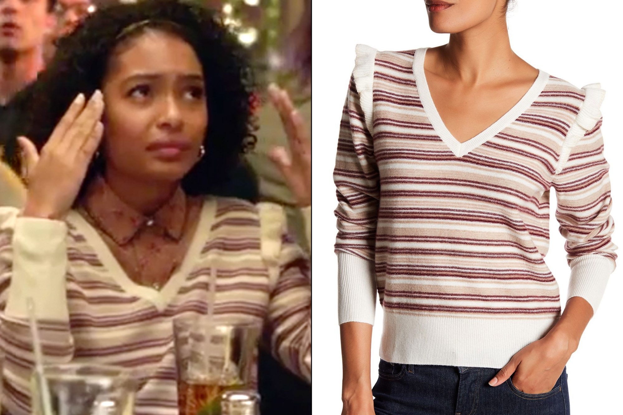 Zoey's (Yara Shahidi) striped sweater on Grown-ish