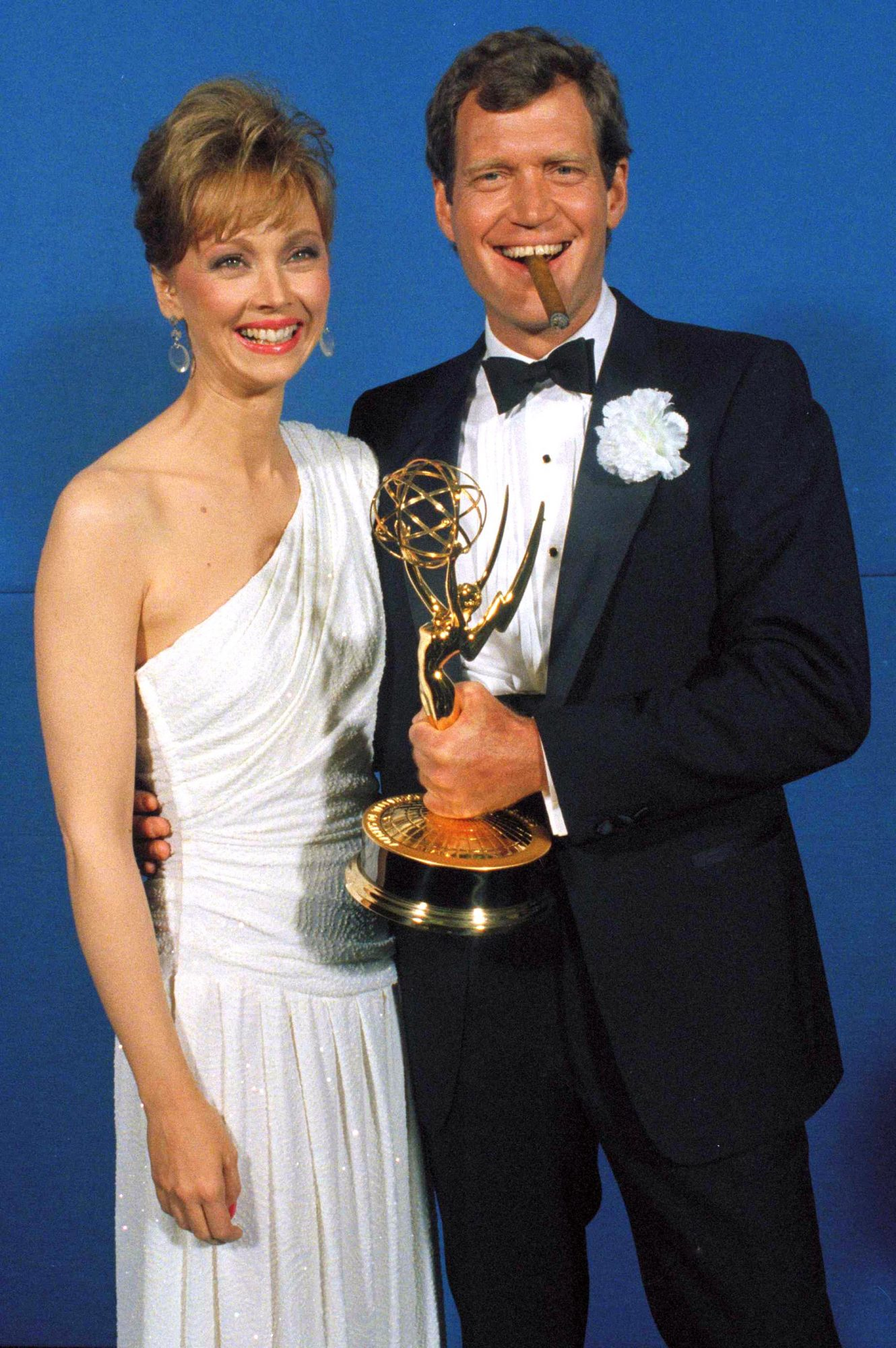 Shelley Long and David Letterman Holding YTrophy, New York, USA
