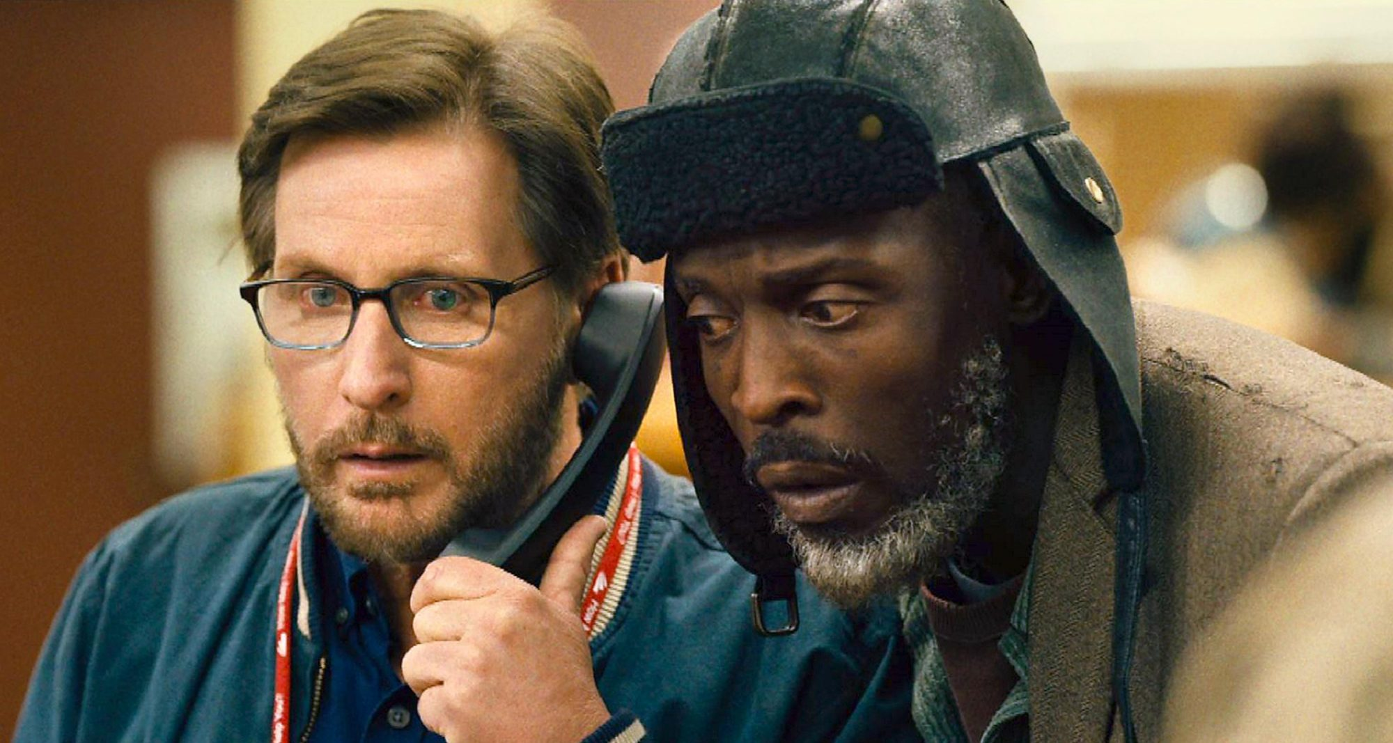 Emilio Estevez & Michael Kenneth Williams in the film The Public.