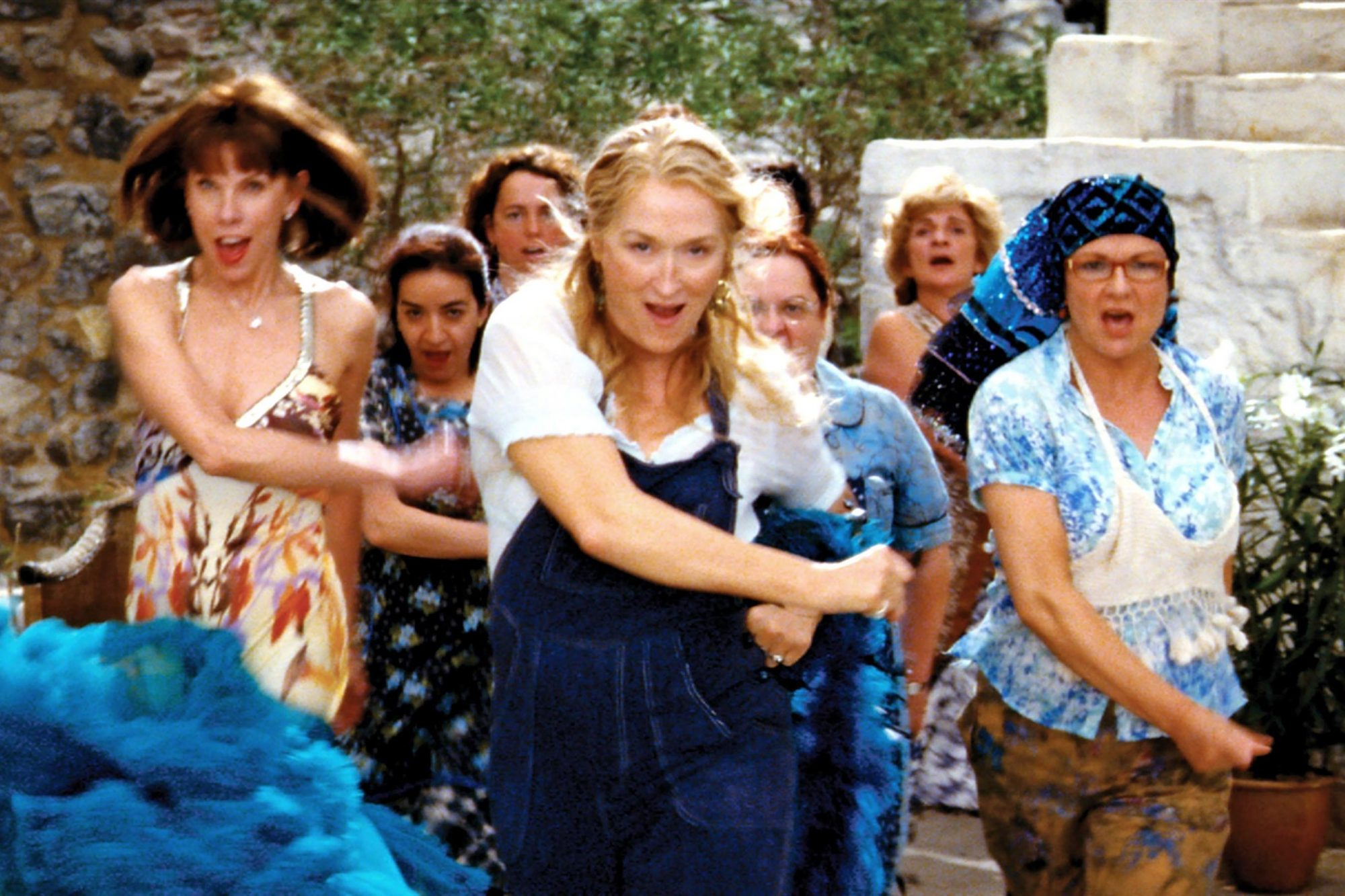 MAMMA MIA!, front, from left: Christine Baranski, Meryl Streep,  Julie Walters, 2008. ©Universal/cou