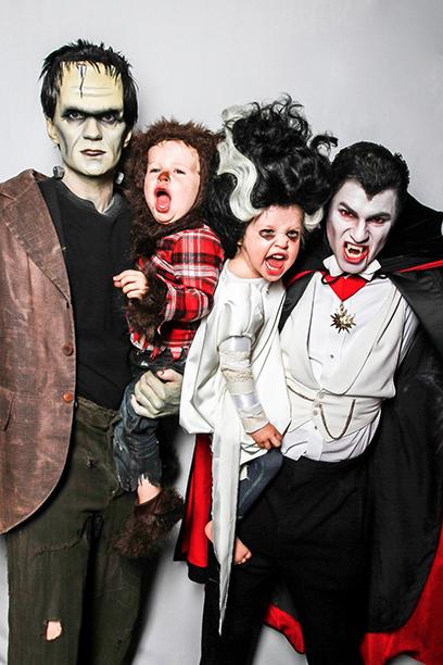 Neil Patrick Harris as Frankenstein, Gideon as Wolfman, Harper as Bride of Frankenstein, and David Burtka as Dracula