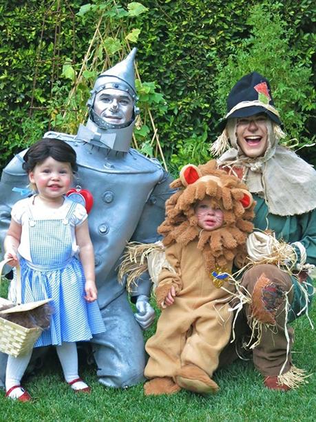 Harper as Dorothy, Neil Patrick Harris as Tin Man, Gideon as Cowardly Lion, and David Burtka as Scarecrow