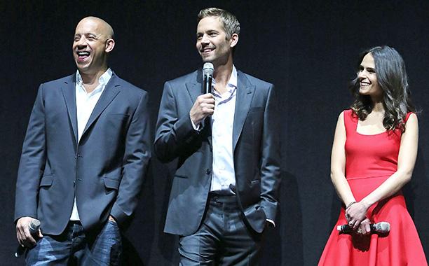 Paul Walker With Vin Diesel and Jordana Brewster at CinemaCon in Las Vegas on April 16, 2013