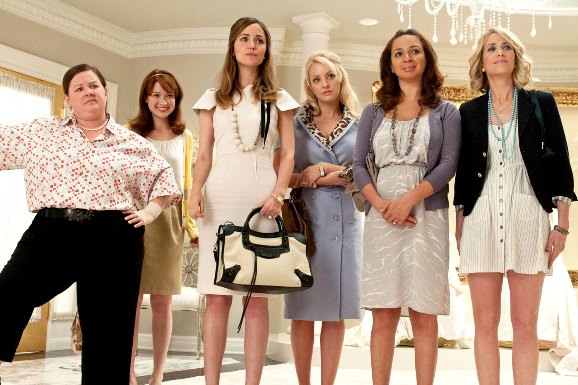 BRIDESMAIDS, from left: Melissa McCarthy, Ellie Kemper, Rose Byrne, Wendi McLendon-Covey, Maya Rudol