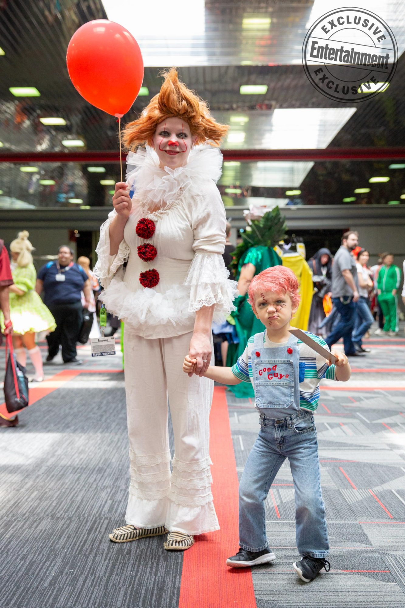 Anime Central 2019 cosplayers photographed on May 18th and 19th in Chicago, IL by Chris Cosgrove for Entertainment Weekly. -- Pictured: Pennywise from It and Chucky from Child's Play cosplayers