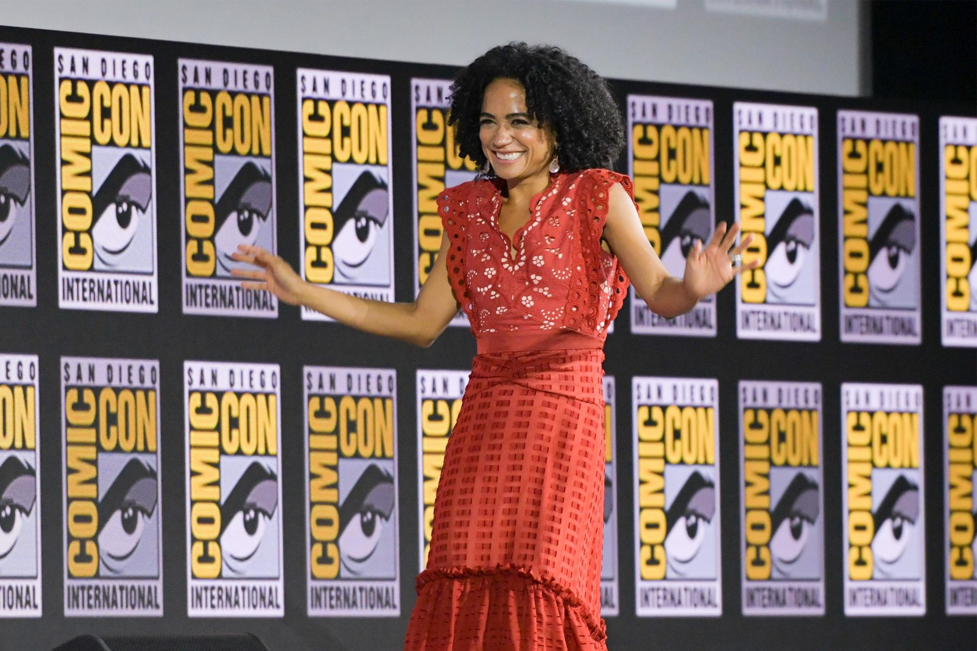 US actress Lauren Ridloff arrives on stage for the Marvel panel in Hall H of the Convention Center during Comic Con in San Diego, California on July 20, 2019. (Photo by Chris Delmas / AFP) (Photo credit should read CHRIS DELMAS/AFP/Getty Images)
