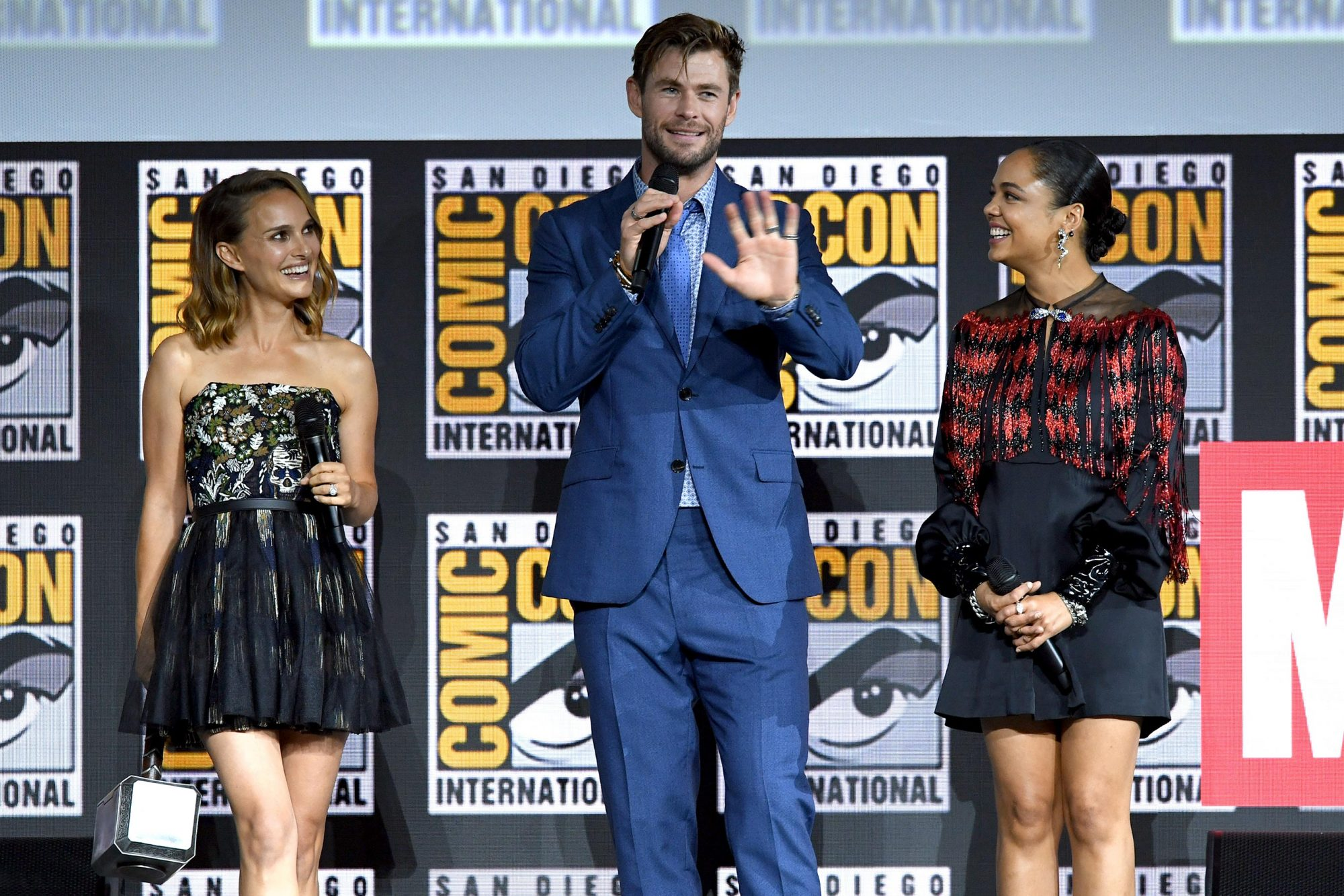 Natalie Portman, Chris Hemsworth and Tessa Thompson