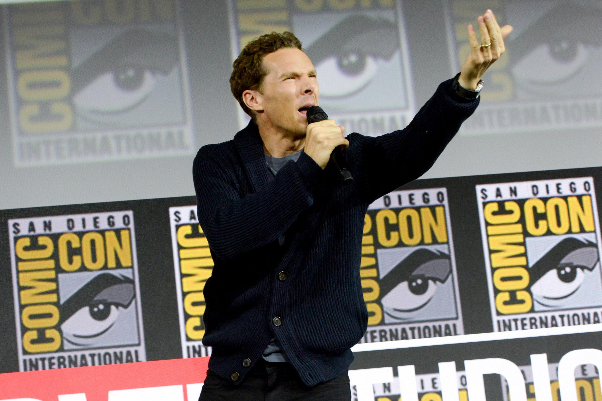 SAN DIEGO, CALIFORNIA - JULY 20: Benedict Cumberbatch speaks at the Marvel Studios Panel during 2019 Comic-Con International at San Diego Convention Center on July 20, 2019 in San Diego, California. (Photo by Albert L. Ortega/Getty Images)