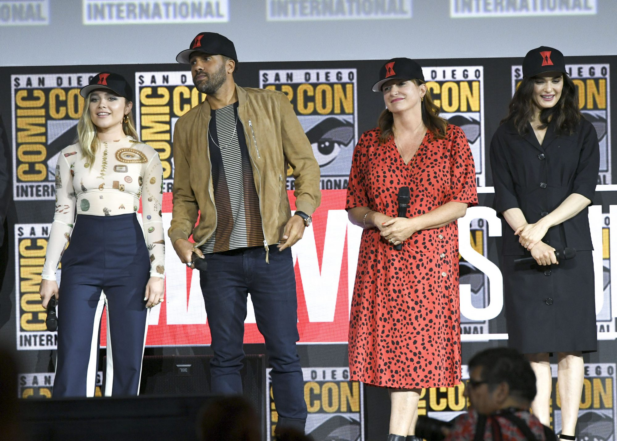 SAN DIEGO, CALIFORNIA - JULY 20: (L-R) Florence Pugh, O. T. Fagbenle, Cate Shortland and Rachel Weisz speak at the Marvel Studios Panel during 2019 Comic-Con International at San Diego Convention Center on July 20, 2019 in San Diego, California. (Photo by Kevin Winter/Getty Images)