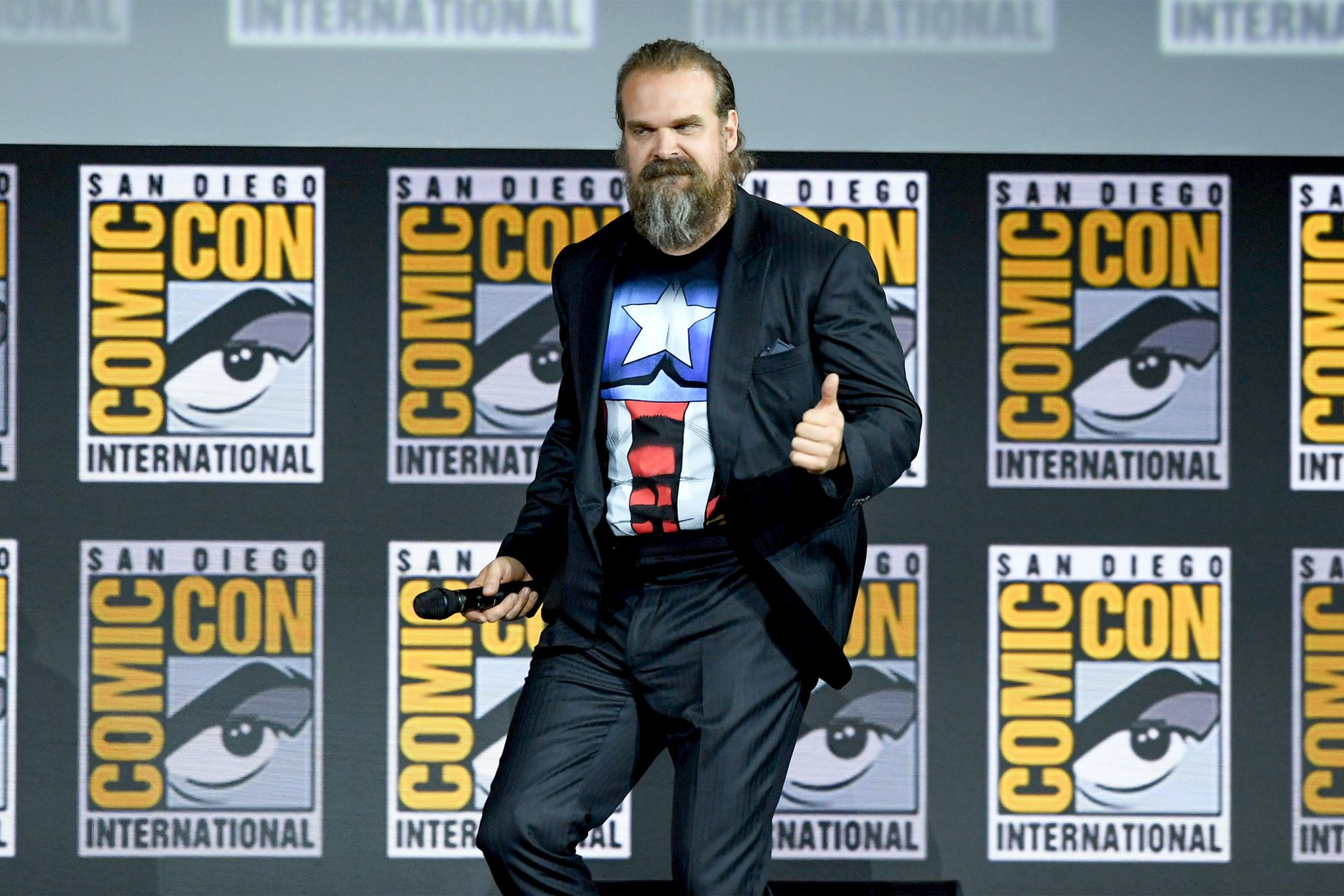 SAN DIEGO, CALIFORNIA - JULY 20: David Harbour speaks at the Marvel Studios Panel during 2019 Comic-Con International at San Diego Convention Center on July 20, 2019 in San Diego, California. (Photo by Kevin Winter/Getty Images)