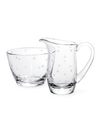 "Kate Spade's ""Larabee Dot"" crystal sugar bowl and creamer set"