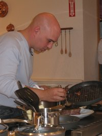 Michael Symon with the new Calphalon Sear Nonstick pan
