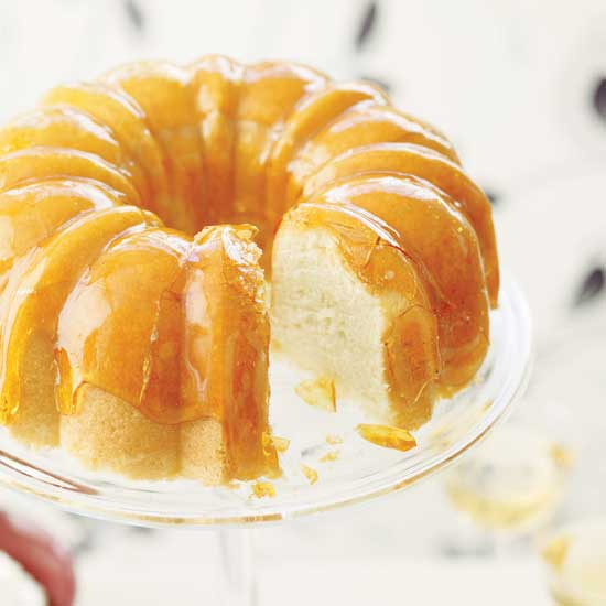 Lemon Cake with Crackly Caramel Glaze and Lime-Yogurt Mousse
