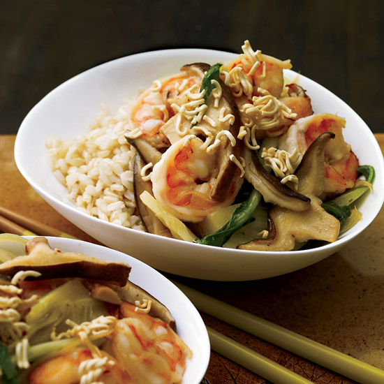 Shrimp– and– Bok Choy Stir-Fry with Crispy Noodles