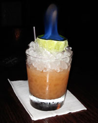 Cradle of Life flaming cocktail at Painkiller