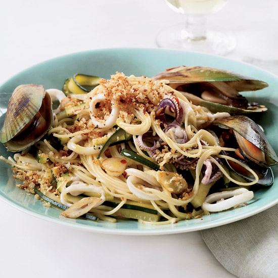 Angel Hair Pasta with Squid, Mussels and Zucchini
