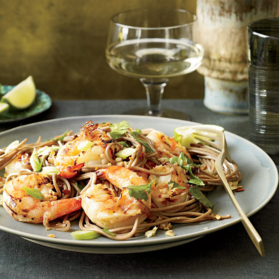 Soba Noodles with Grilled Shrimp and Cilantro