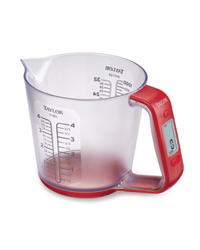 Measuring Cup: Taylor's over-achieving digital measuring-cup scale weighs dry and liquid ingredients in ounces or grams while measuring their volume in fluid ounces or milliliters. Ideal for bakers who crave precision.