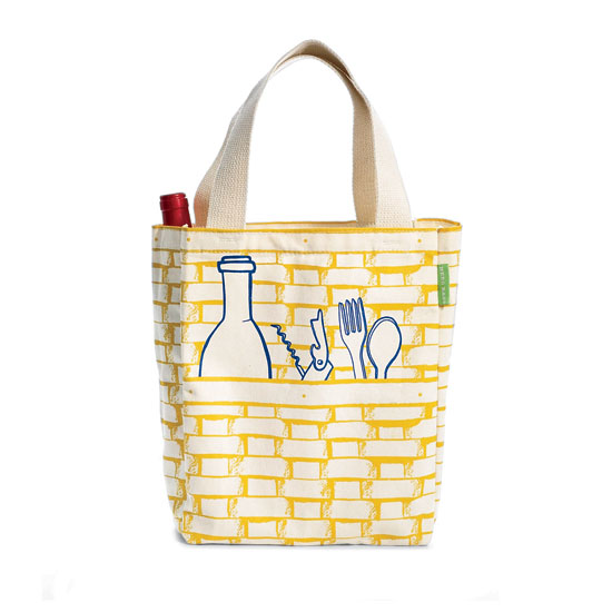 Made from silk-screened canvas, this roomy totes has a pocket for bottles and space for food.