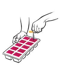 Wine in ice cube tray.