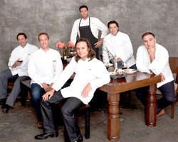 Front row from L to R: The Bromberg brothers, David Myers. Back row from L to R: Scott Conant, Costas Spiliadis, José Andrés.