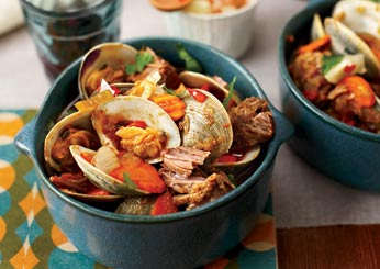 George Mendes Portuguese Recipes: Chef Braised Pork with Clams.