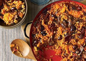 George Mendes Portuguese Recipes: Rice with Duck and Apricots.