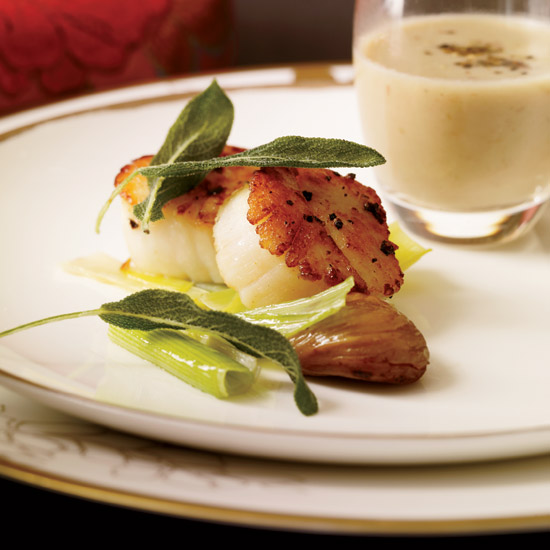 Romantic dishes food wine scallops with chestnut sauce and crisp sage forumfinder Gallery