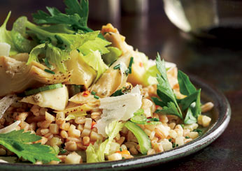 Farro with Artichokes and Herb Salad.