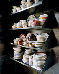 open-shelf dish displays.
