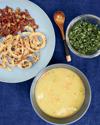 Jennifer Nettles's Soup Party: Split pea soup, crispy onions, parsley pistou.