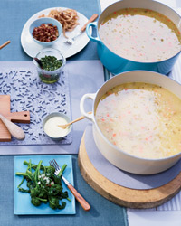 Jennifer Nettles's Soup Party: Split pea soup, white bean stew.