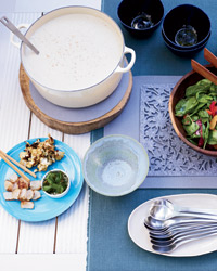 Jennifer Nettles's Soup Party: Cauliflower soup, herb salad.