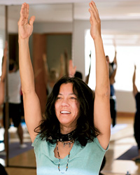 Yoga retreat for foodies: Sandra Tsing Loh tackles a yoga pose.