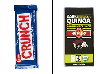 Nestle Crunch Bars vs. Alter Eco's Midnight Crunch Bars