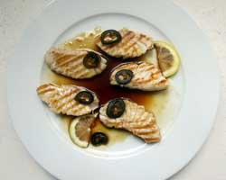 Grilled opah with jalapenos