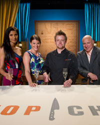 Winner Richard Blais with Padma Lakshmi, Gail Simmons, Tom Colicchio