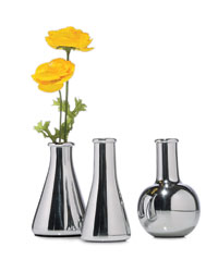 Aluminum flower vases from Museum of Robots