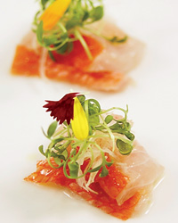 Nancy Cushman's task is to pair wines with dishes like kin medai sashimi.